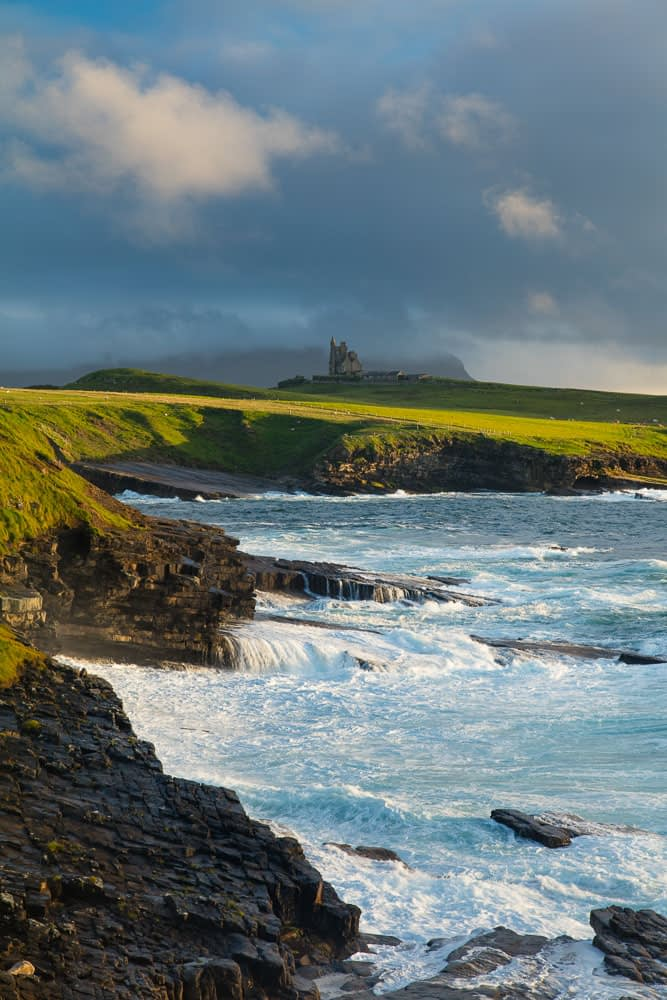 Coastal view of Classie Bawn Castle, Mullaghmore, County Sligo, Ireland.