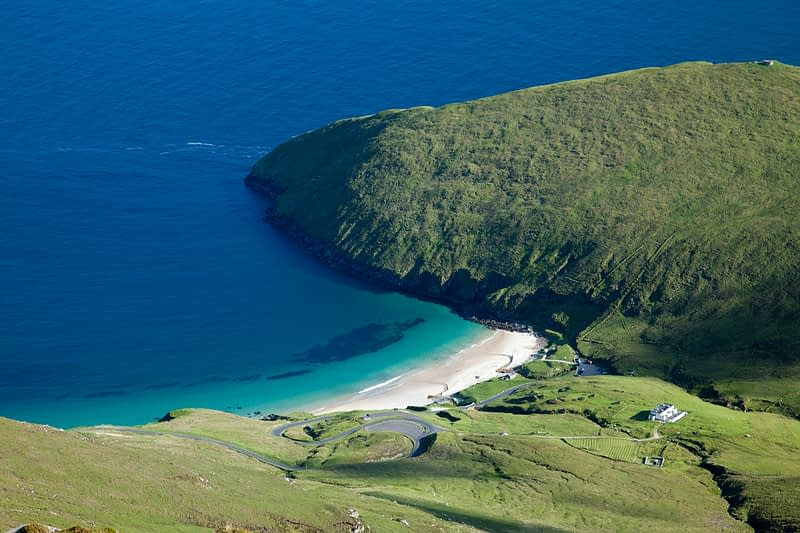 Keem Strand from the summit of Croaghaun, Achill Island, Co Mayo, Ireland.