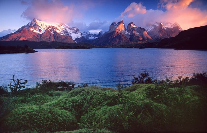 Lago Pehoe and the Paine massif at dawn, Torres del Paine National Park, Patagonia, Chile.