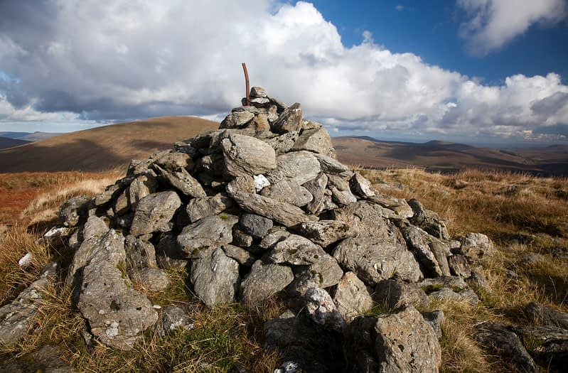 Cairn at the summit of Dart Mountain, Sperrin Mountains, Co Tyrone, Northern Ireland.