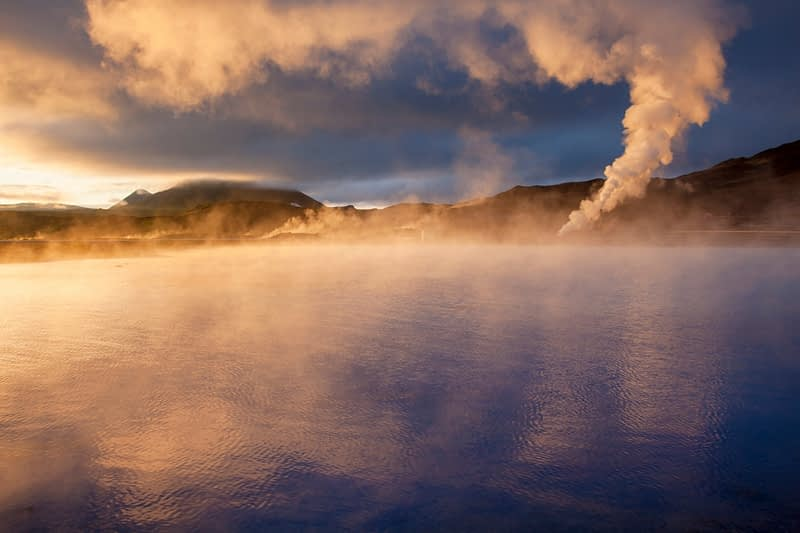 Sunset light on the streaming geothermal vents at Bjarnarflag, Myvatn, Nordhurland Eystra, Iceland.