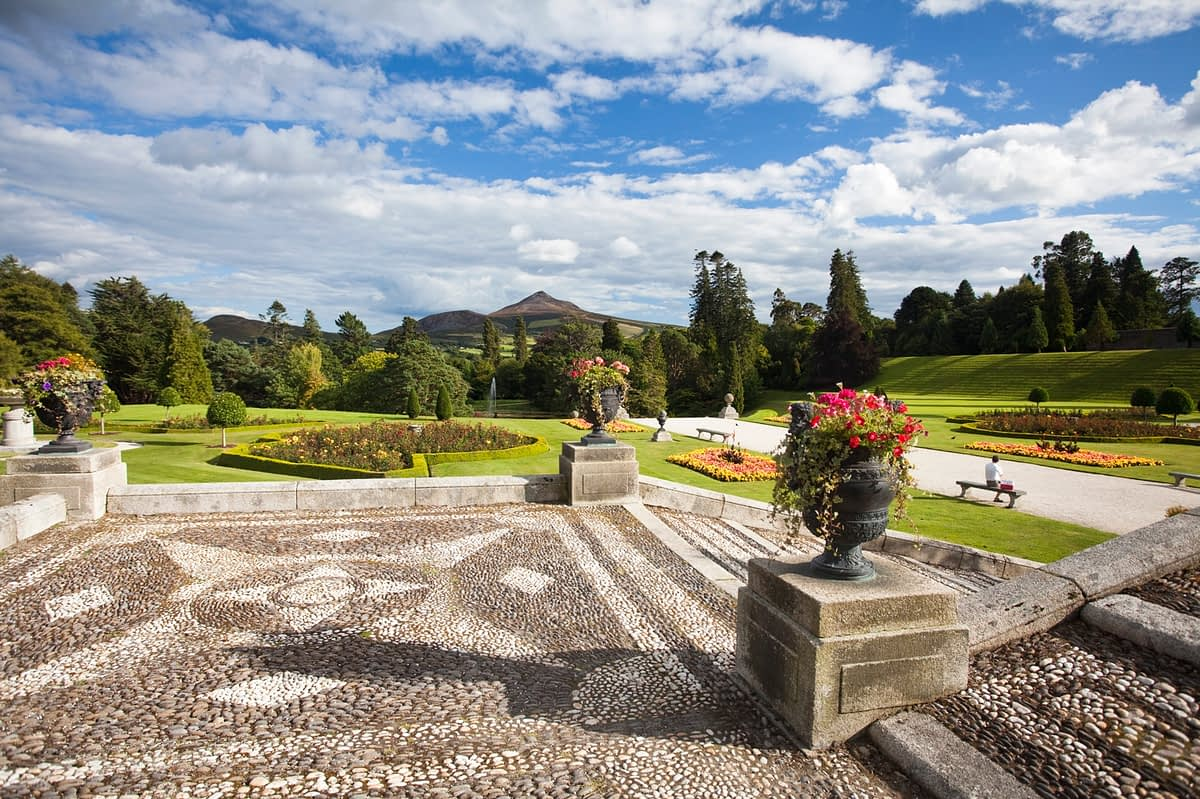 The gardens and forecourt of Powerscourt House, Enniskerry, Co Wicklow, Ireland.