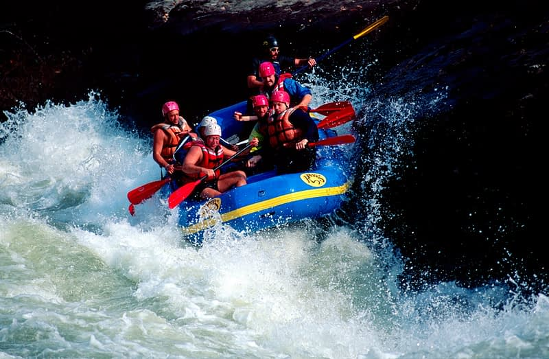 Rafting on Pillow Rock, a grade 5 rapid on the Gauley River, West Virginia, USA.