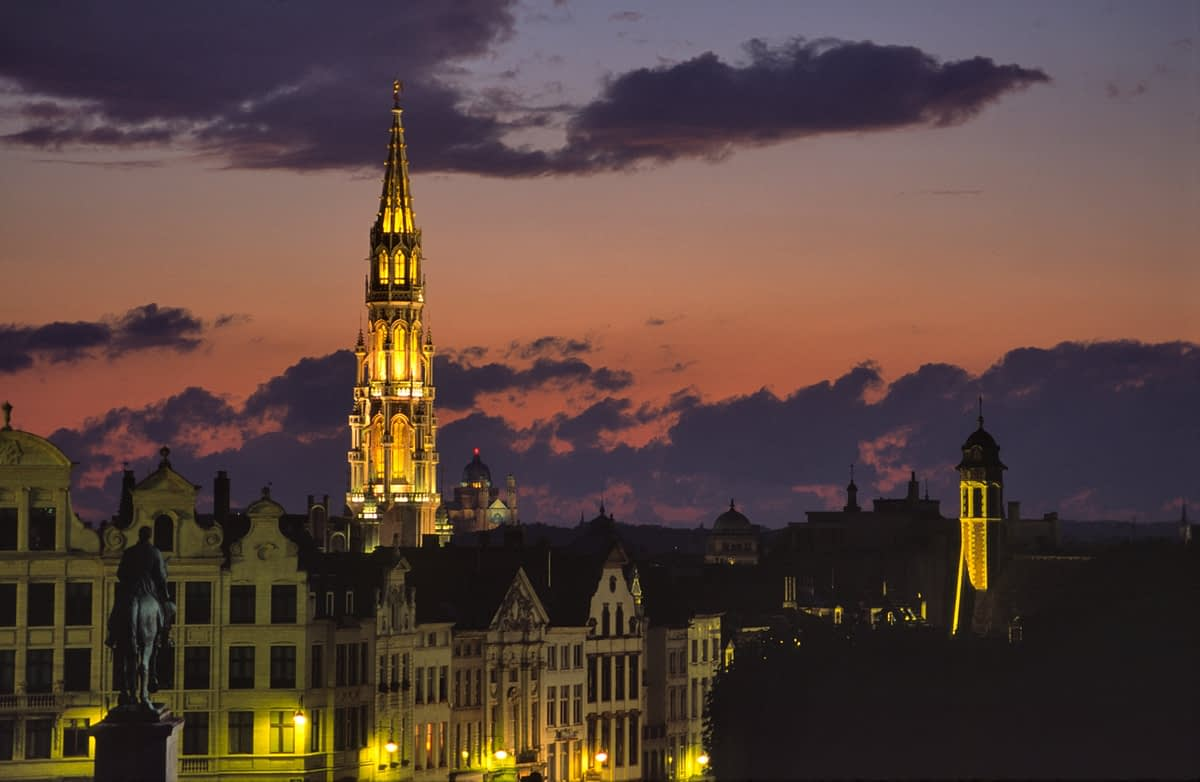 The City Hall dominates the skyline at dusk, Brussels, Belgium.