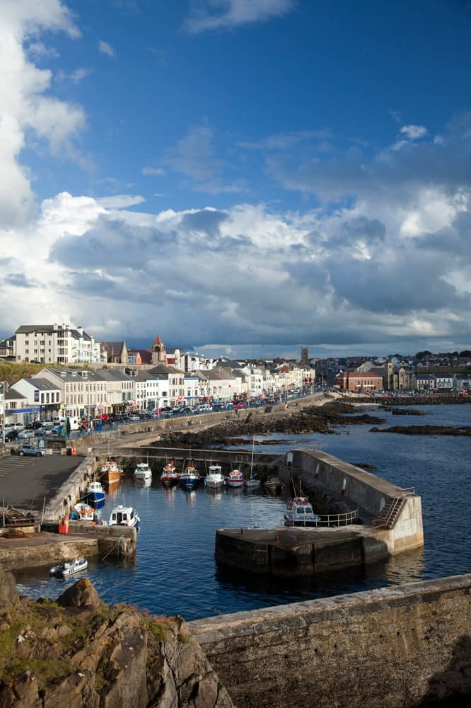Portstewart harbour and promenade, Co Derry, Northern Ireland.