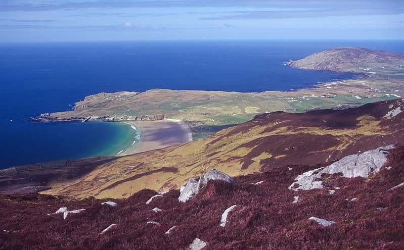 View over Lenan Strand from the Urris Hills, Inishowen Peninsula, Co Donegal, Ireland.