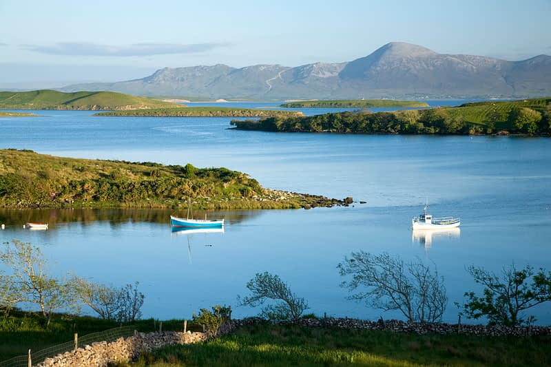 Evening view across Clew Bay to Croagh Patrick, Co Mayo, Ireland.