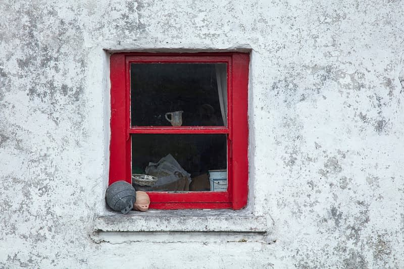 Old cottage window, Inishmore, Aran Islands, County Galway, Ireland.