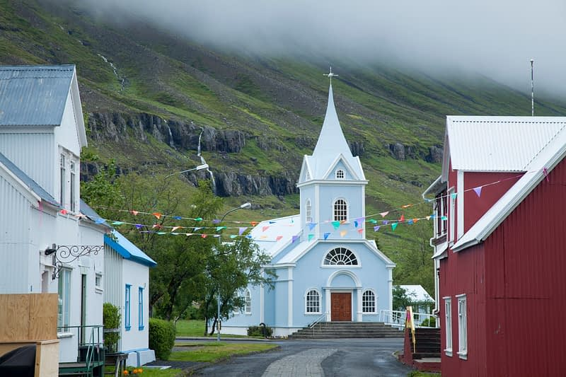 Traditional church in Seydisfjordur village, Austurland, Iceland.