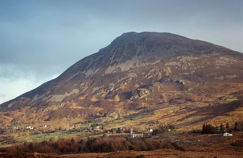 Dunlewy village beneath Errigal Mountain, Co Donegal, Ireland.