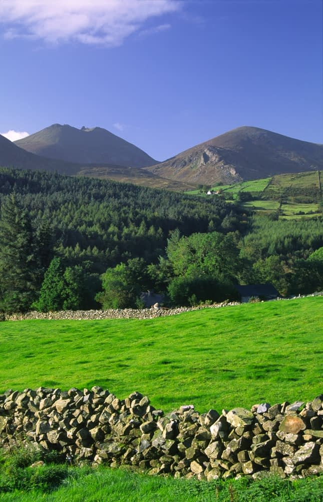 Green fields beneath the Mourne Mountains, Co Down, Northern Ireland.