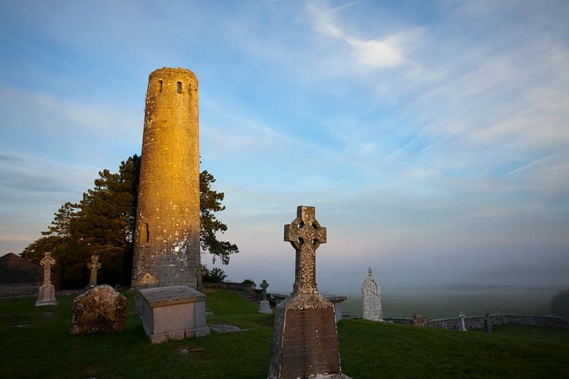 Dawn light on O'Rourke's Round Tower, Clonmacnoise, Co Offaly, Ireland.