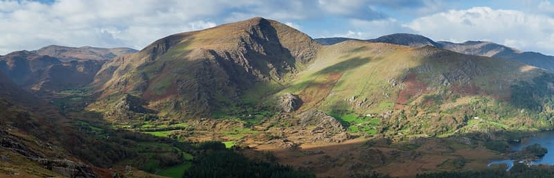 Panorama of the Glanmore Valley, Beara Peninsula, County Kerry, Ireland.