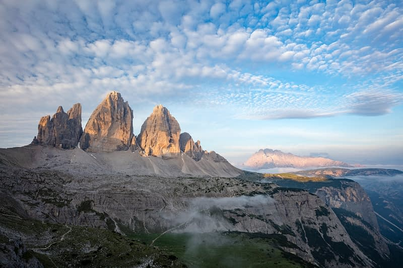 Dawn light on Tre Cime di Lavaredo, Sexten Dolomites, South Tyrol, Italy.