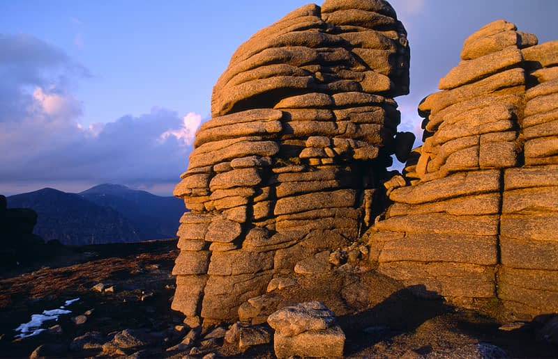 Summit tor on Slieve Binnian, Mourne Mountains, Co Down, Northern Ireland.