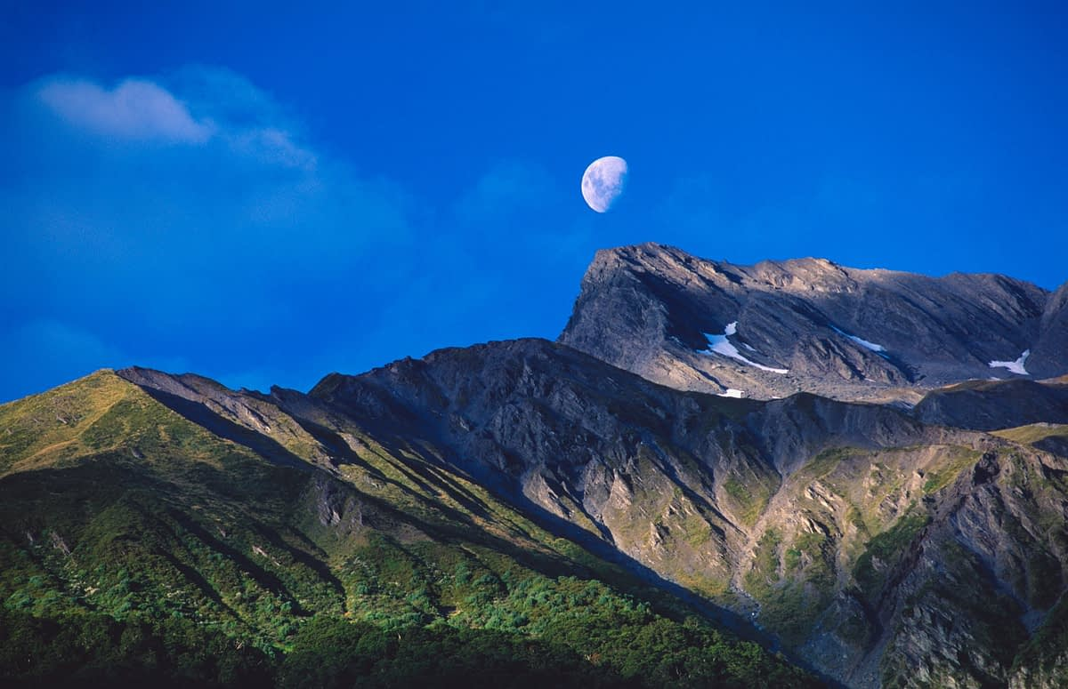Moonrise over Mt Broom, Mt Aspiring National Park, South Island, New Zealand.