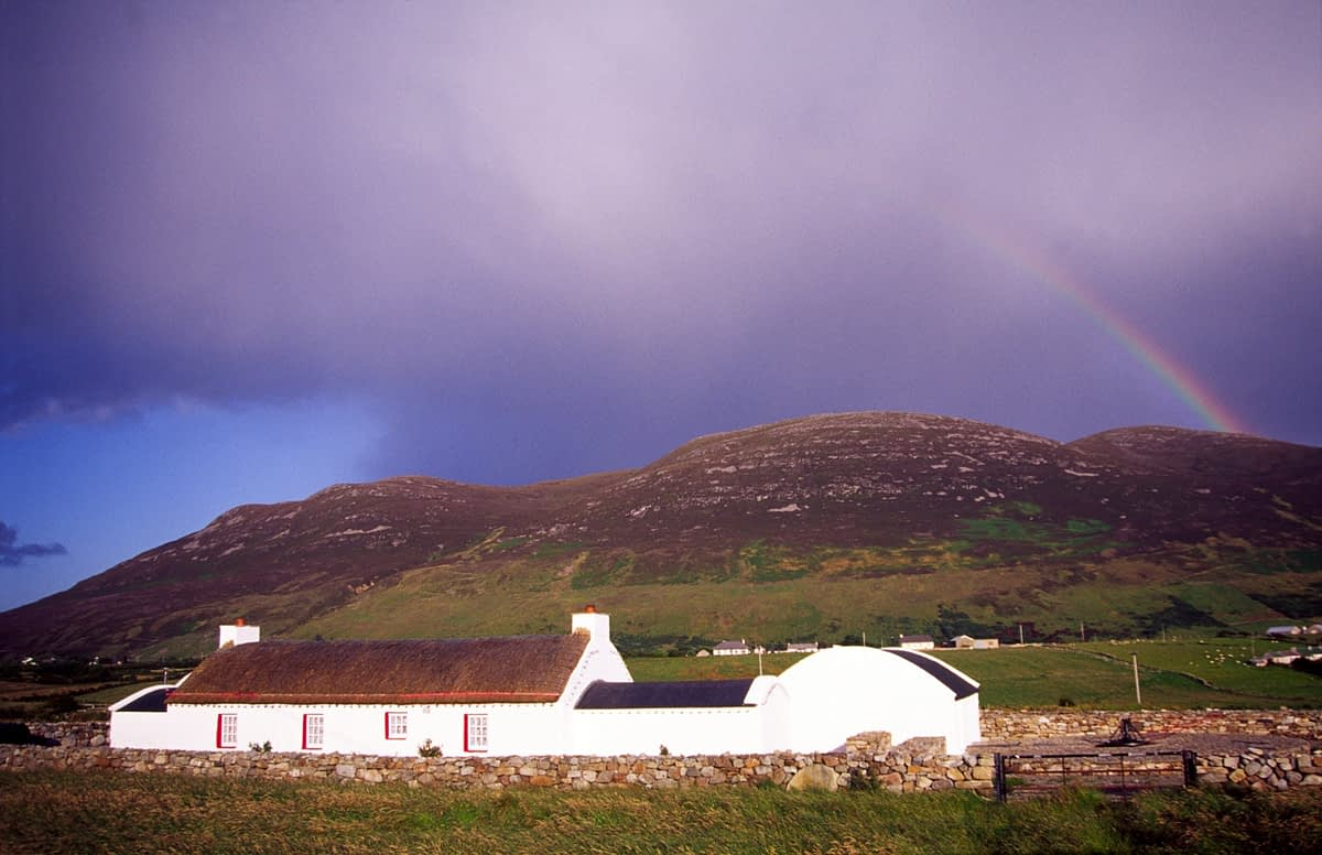 Traditional thatched cottage, Inishowen, Co Donegal, Ireland.
