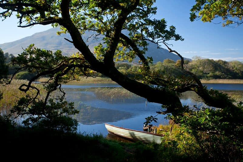 Boat on the shore of Lough Maladrolaun, Kylemore House, Connemara, Co Galway, Ireland.