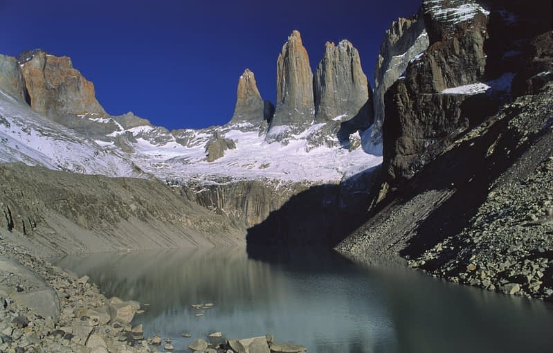 The Torres and Laguna del Paine, Torres del Paine NP, Patagonia, Chile.