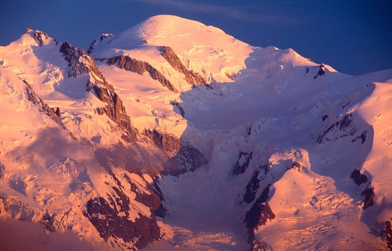 Evening light on Mont Blanc (4807m), Chamonix Valley, French Alps, France.