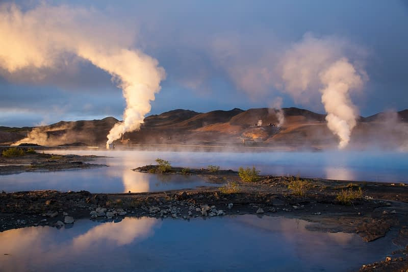 Sunset light over Bjarnarflag geothermal power station, Myvatn, Nordhurland Eystra, Iceland.