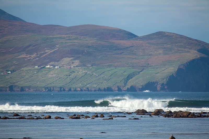 Surfing in Brandon Bay, Dingle Peninsula, County Kerry, Ireland.