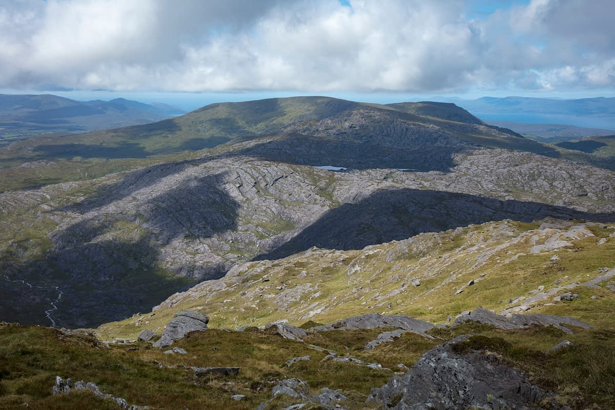 View of the Slieve Miskish Mountains from Hungry Hill, Beara Peninsula, County Cork, Ireland.