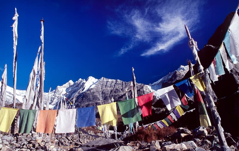 Prayer flags in the Langtang Valley, Nepal.