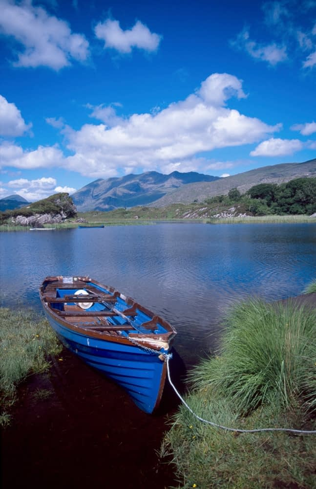 Fishing boat on Upper Lake, Killarney National Park, Co Kerry, Ireland.