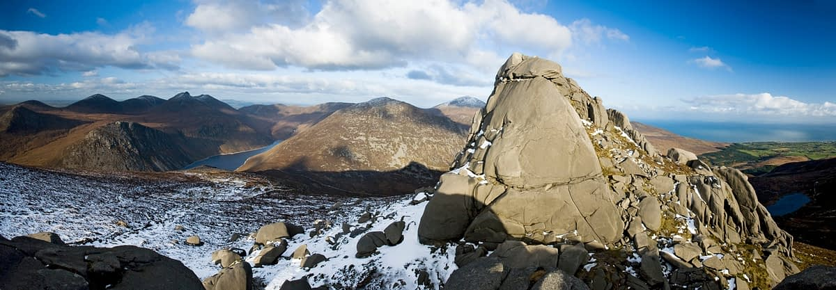 Slieve Binnian North Tor in winter, Mourne Mountains, Co Down, Northern Ireland.