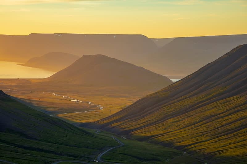 Evening view from Hrafnseyrarheidi mountain road towards Pingeyri and Dyrafjordur, Westfjords, Iceland.