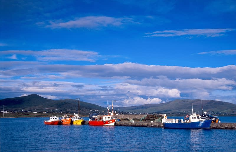 Fishing boats at Knightstown pier, Valentia Island, Co Kerry, Ireland.