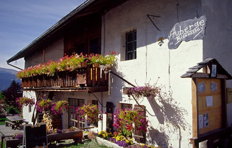 The Auberge du Bionnassay guesthouse, Bionnassay village, French Alps, France.