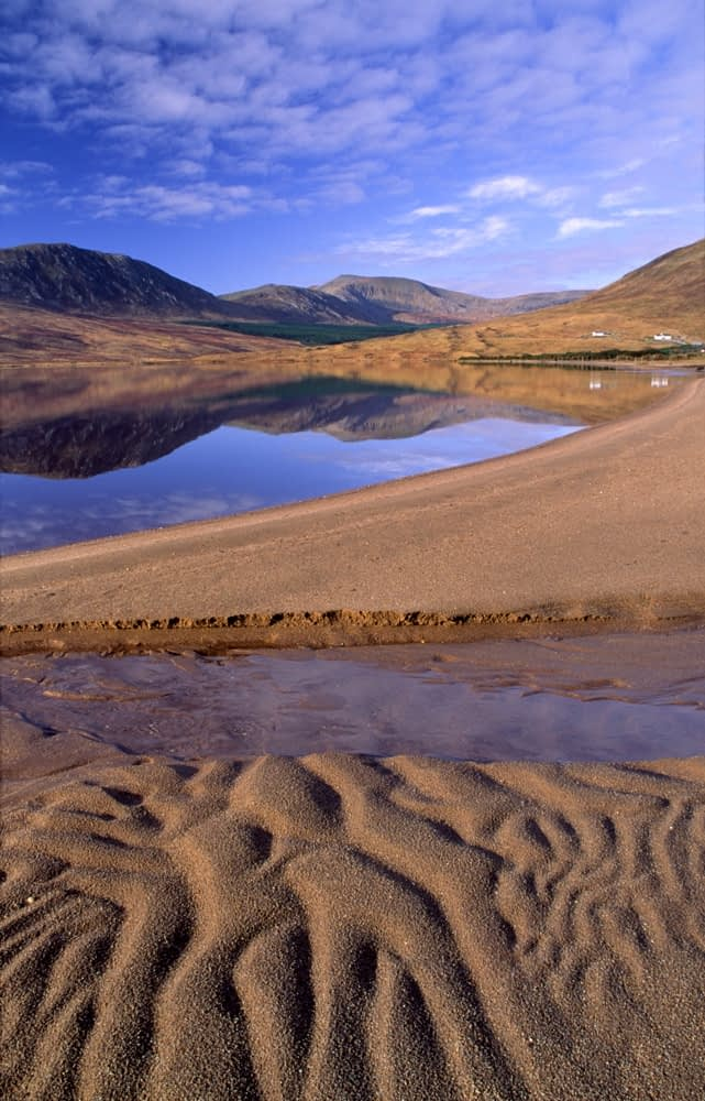 Sand patterns beside Lough Feeagh, Nephin Beg Mountains, Co Mayo, Ireland.