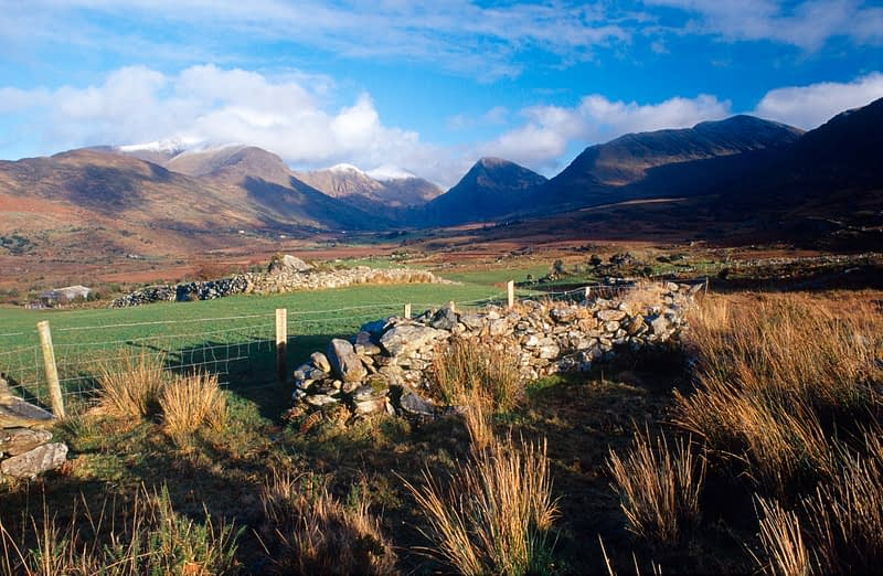 The MacGillycuddy's Reeks from the Caragh Valley, Co Kerry, Ireland.