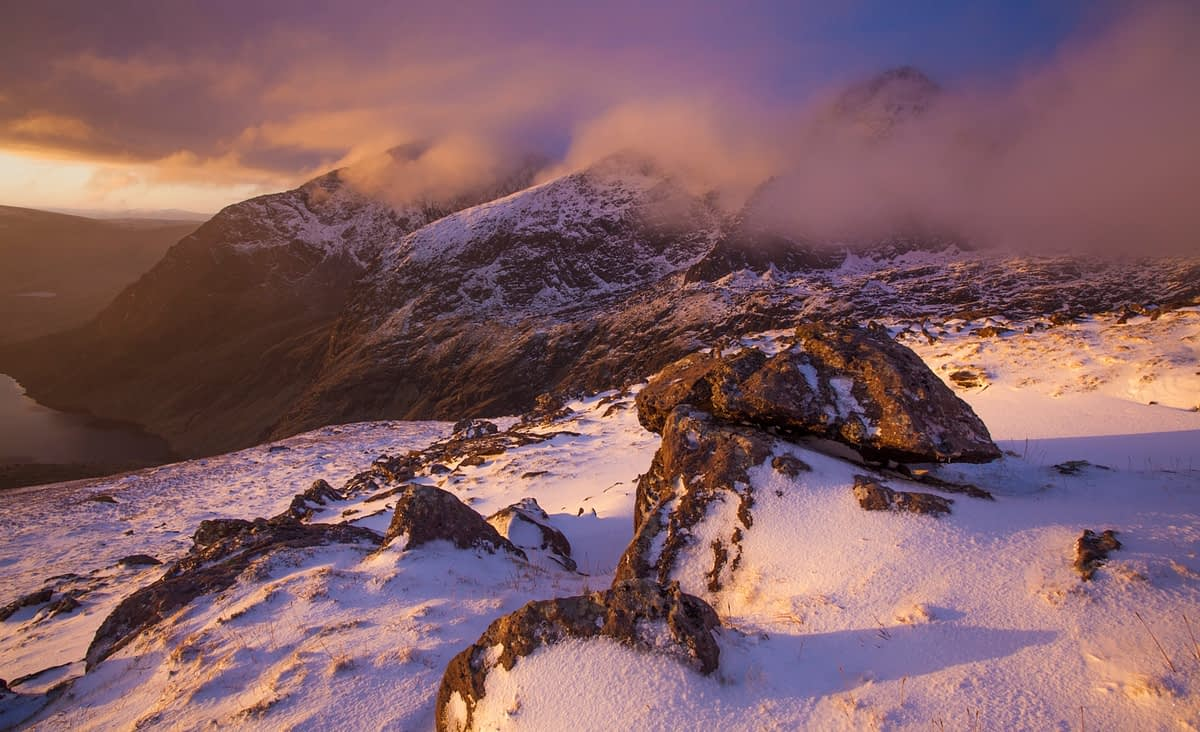 Winter sunrise over Brandon Peak, Dingle Peninsula, County Kerry, Ireland.