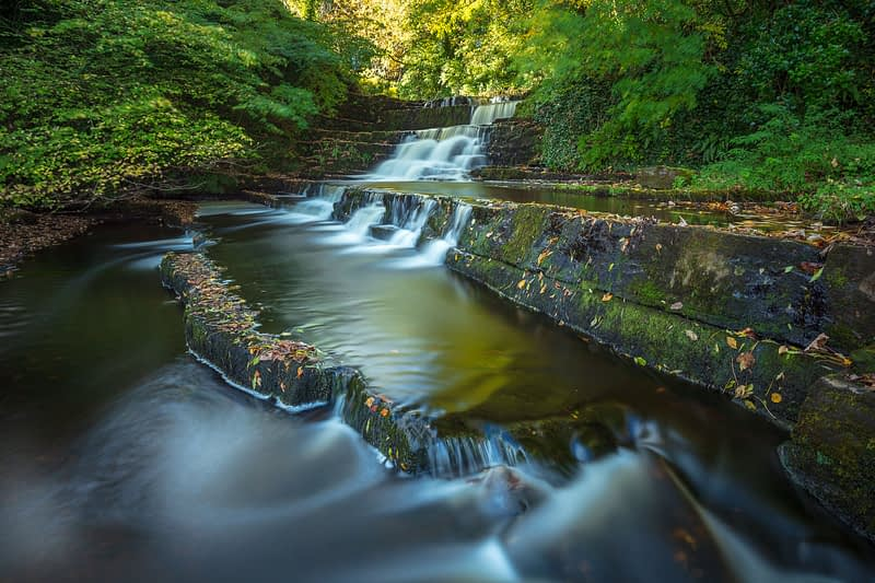 Autumn waterfall on the Dunneill River, Dromore West, County Sligo, Ireland.