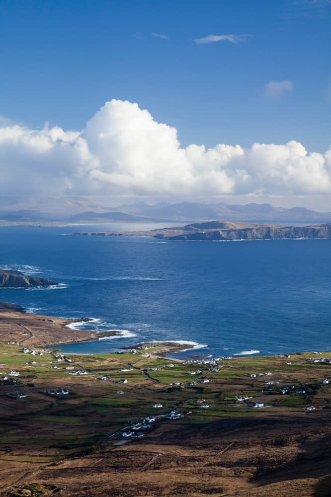 View over Dooega village to Clare Island, Achill Island, Co Mayo, Ireland.