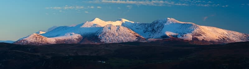 Winter panorama of the MacGillycuddy's Reeks, County Kerry, Ireland.