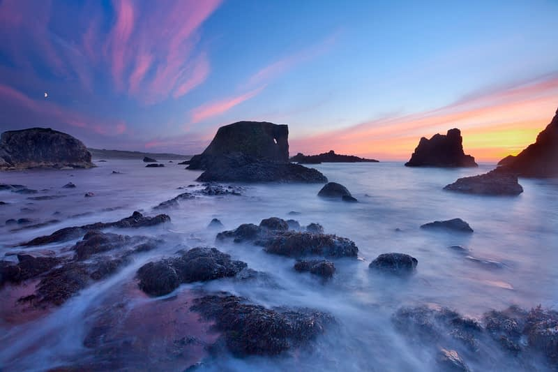 Sunset at Whitepark Bay, Causeway Coast, County Antrim, Northern Ireland.