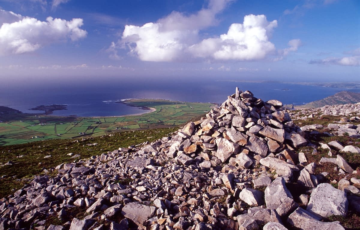 The summit cairn of Raghtin More (502m), Inishowen, Co Donegal, Ireland.