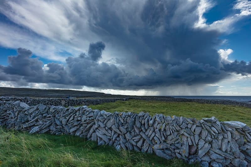 Stone wall and fields on Inishmore, Aran Islands, County Galway, Ireland.