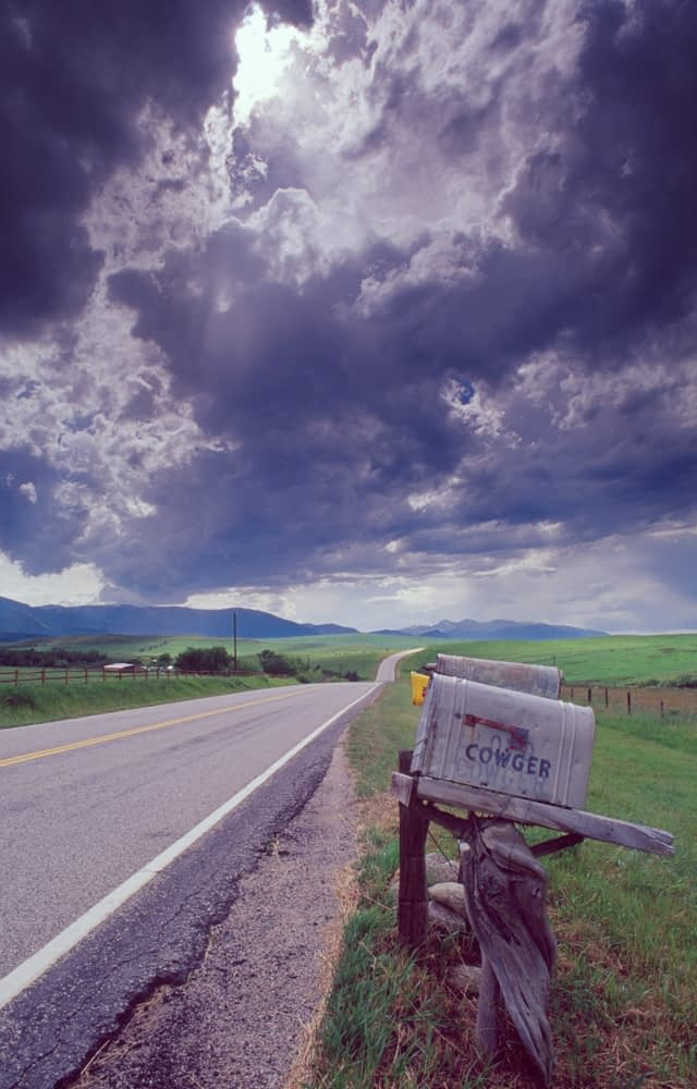 Isolated mailbox in Big Sky Country, Montana, USA.