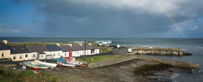 Rainbow over Kilcummin harbour, Co Mayo, Ireland.