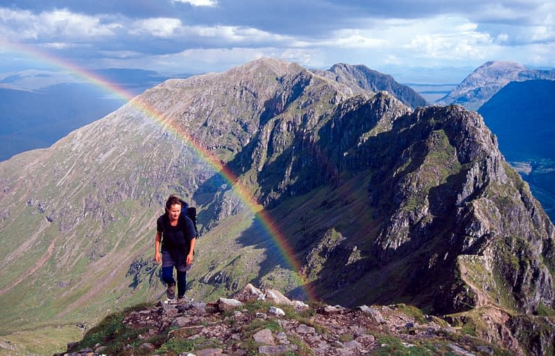 Rainbow over the Aonach Eagach Ridge, Glencoe, Scotland.