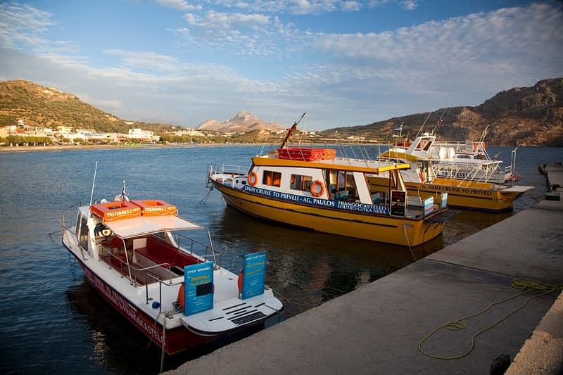 Fishing boats moored at Plakias harbour, Crete, Greece.
