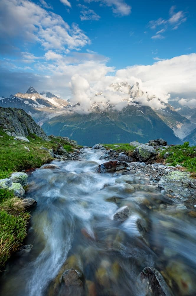 Stream beneath Aiguille Verte, Chamonix Valley, French Alps, France.