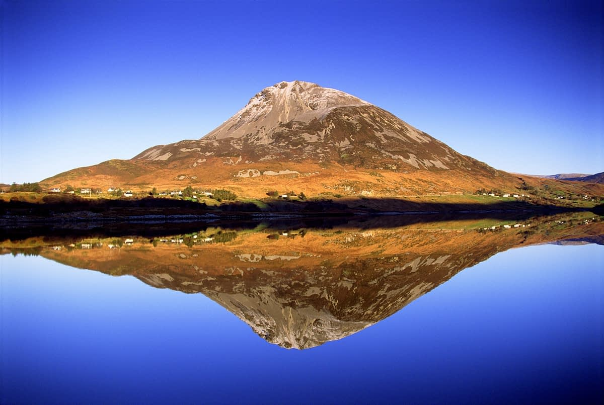 Errigal Mountain reflected in Dunlewy Lough, Co Donegal, Ireland.