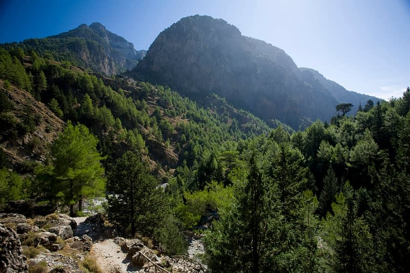 The trail through the Samaria Gorge, Samaria National Park, Crete, Greece.