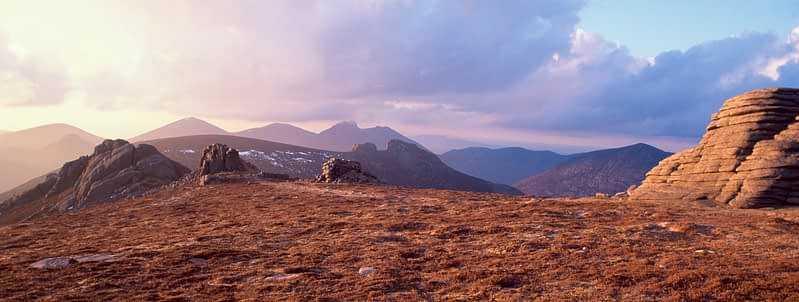 Summit tors on Slieve Binnian, Mourne Mountains, Co Down, Northern Ireland.